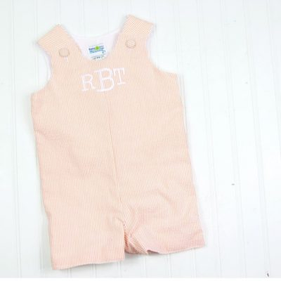 baby romper orange seersucker
