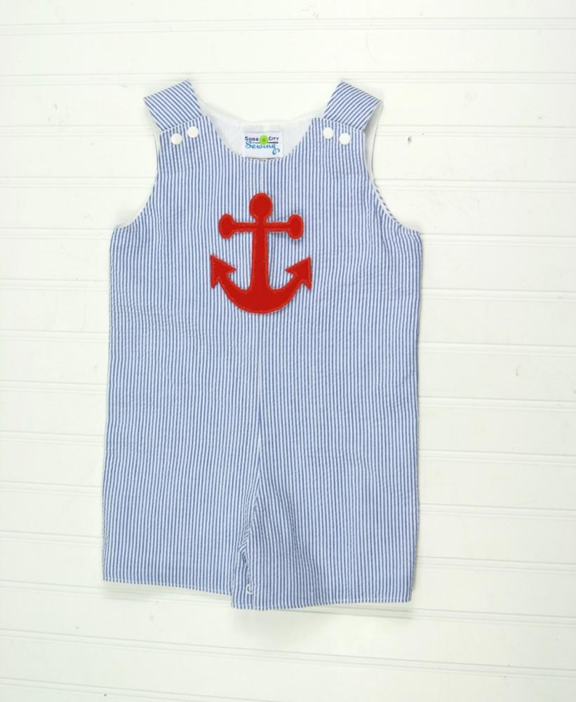 Nautical Baby Clothes Anchor on Navy Seersucker Shortall