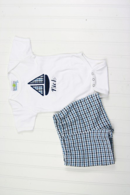 Baby Summer Clothes - Sailboat Shirt And Shorts Outfit