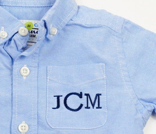 monogrammed pocket button up shirt