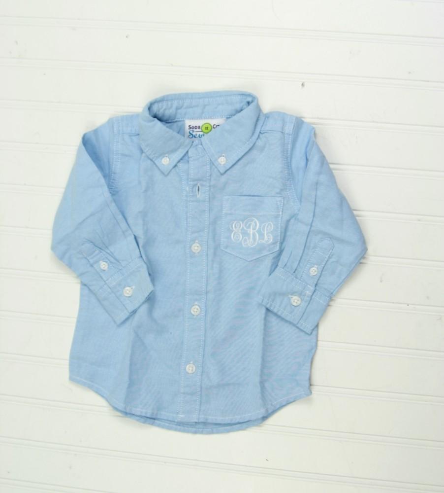 Toddler Dress Shirt Chambray Or White Monogrammed Oxfords