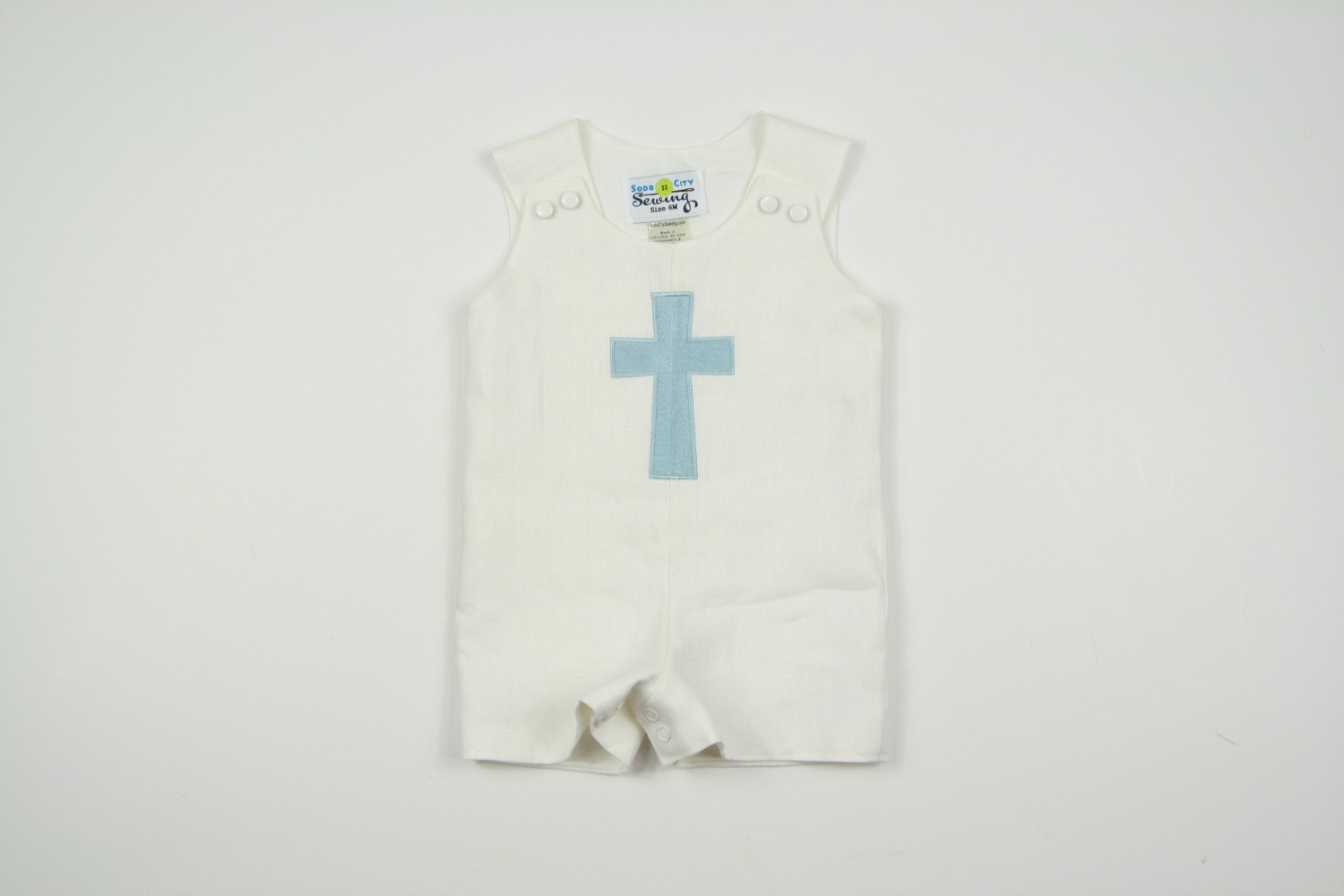 0057c391c Christening Outfit for Boys- Embroidered Cross Romper