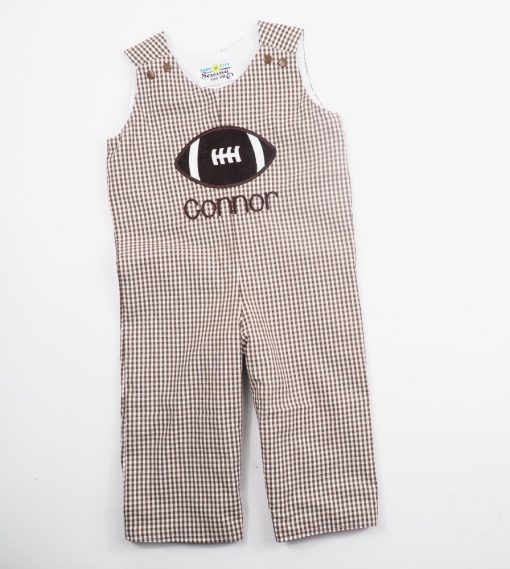 monogrammed fall football overalls