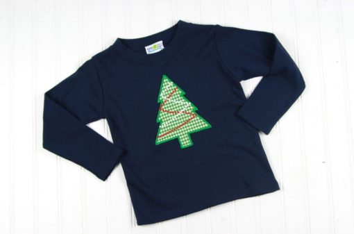 applique christmas tree tee