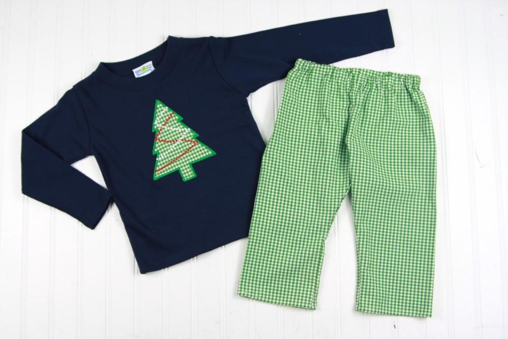 Toddler Boys Christmas Outfit- Christmas Tree Shirt and Gingham Pants