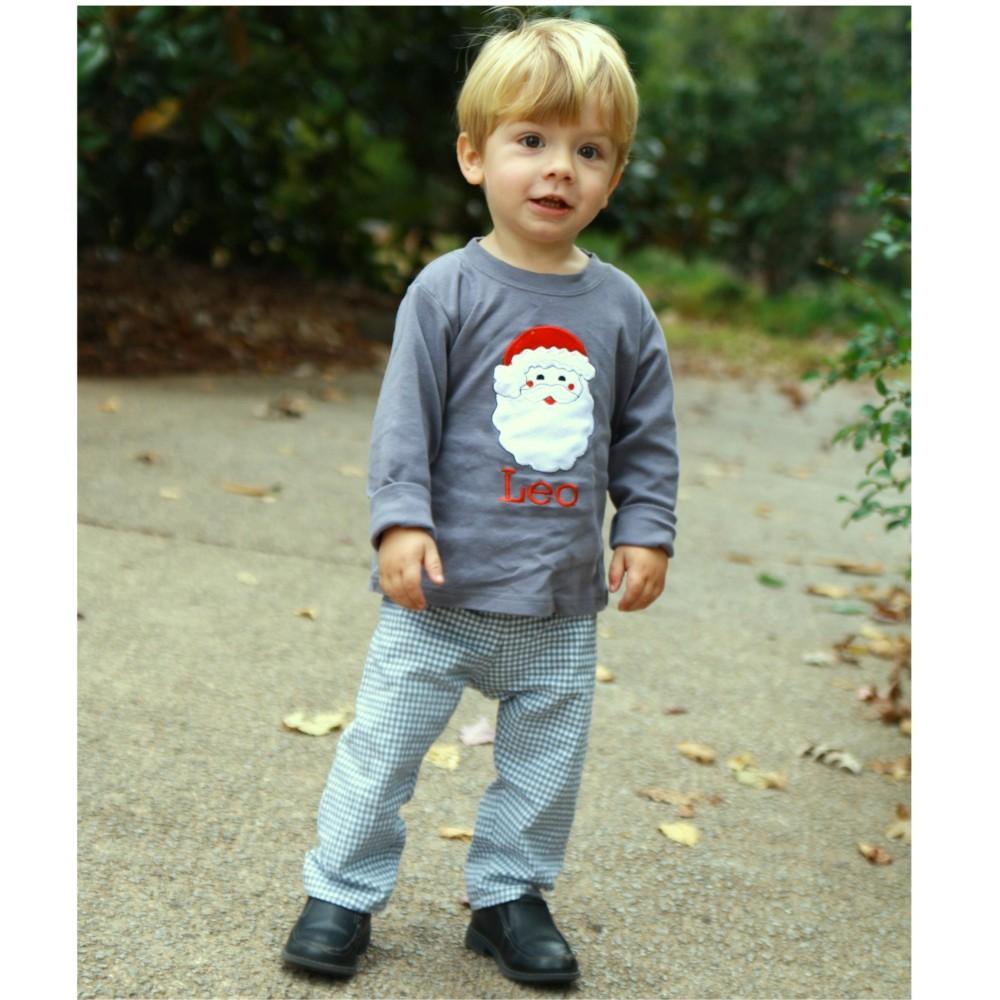 c73187b8376c Toddler Boy Christmas Shirt- Santa Appliqued Tee