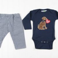 navy puppy valentines shirt gingham pants