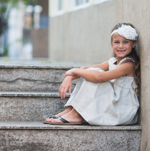 casual wedding flower girl dress for toddler linen