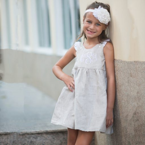 toddler linen dress for easter monogrammed