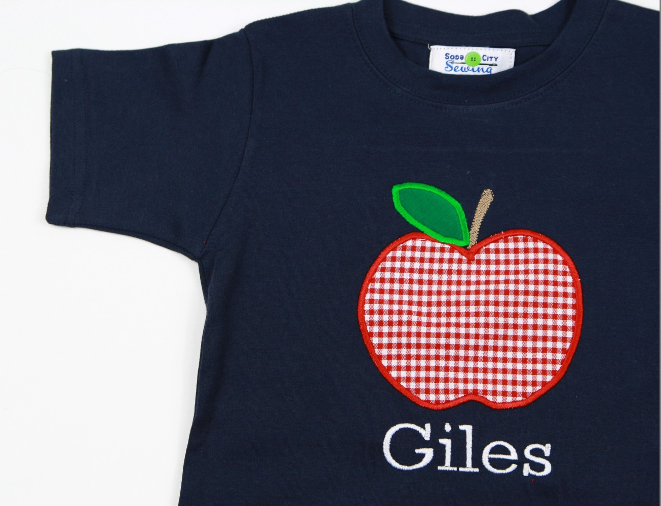 boy appliqu\u00e9d back to school shirt with red gingham apples embroidered first day of school shirt personalized appliqu\u00e9d back to school