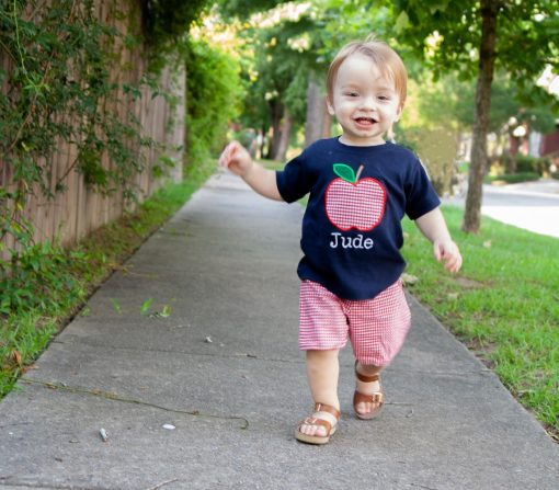preschool first day outfit apple applique