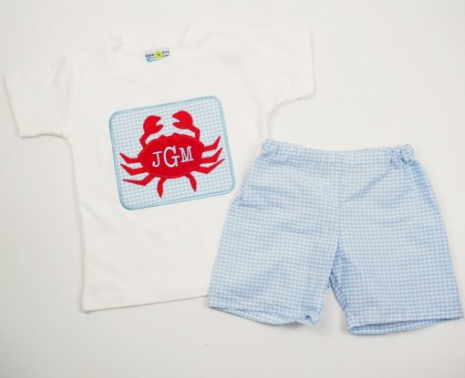 light blue gingham red crab embroidered outfit