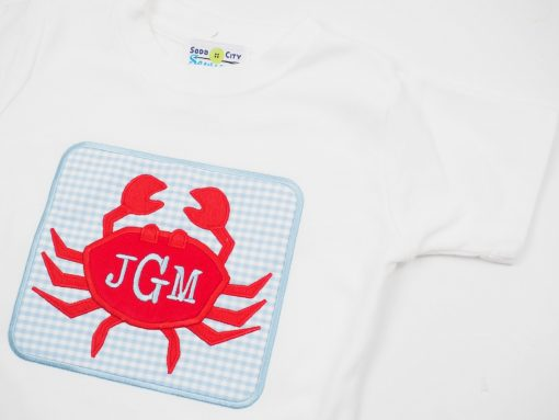 monogrammed crab applique outfit