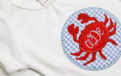 crab applique bodysuit for girls