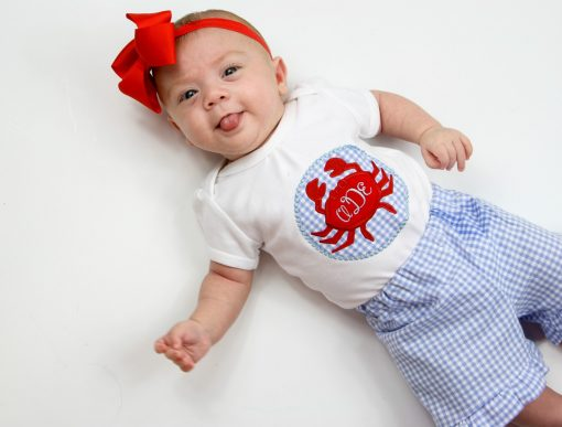 crab applique shirt summer baby girl shorts set