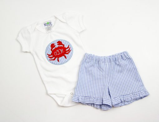 girls crab applique outfit