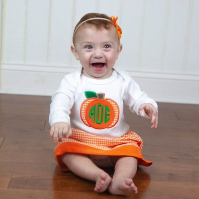 little girls monogramed pumpkin skirt