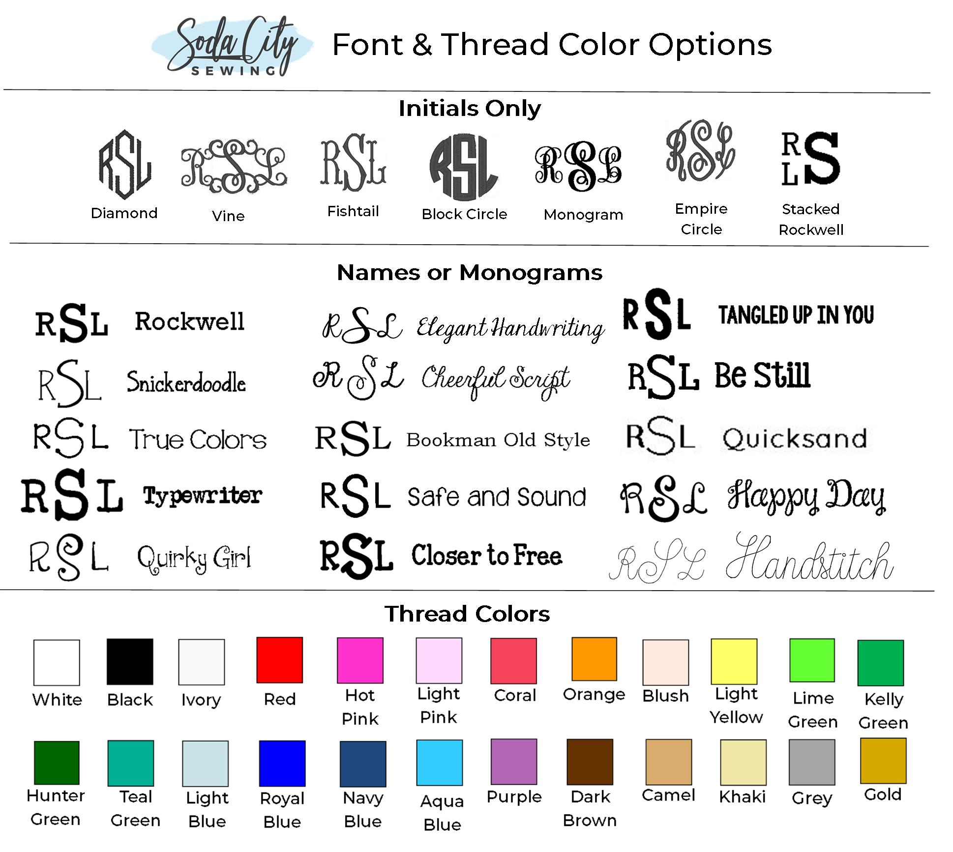 font guide and thread colors