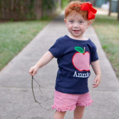 girls back to school outfit apple applique