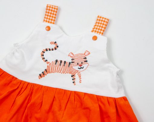 orange corduroy tiger dress