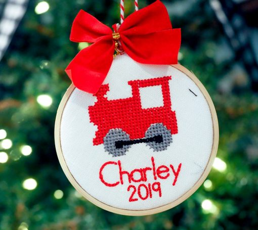 cross stitch personalized ornament