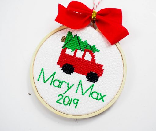 personalized cross stitch ornament