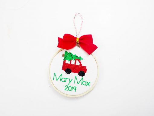 station wagon cross stitch ornament