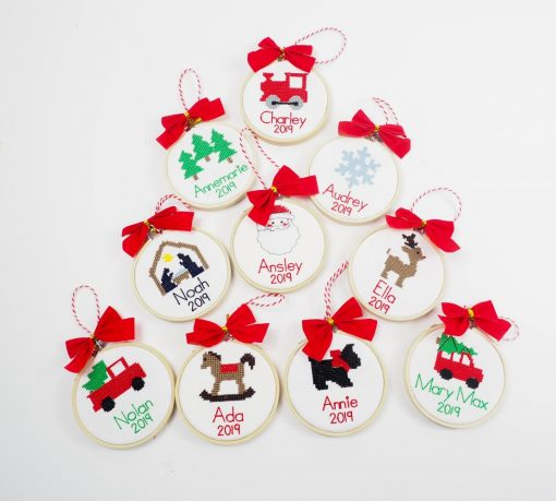 cross stitch personalized ornaments for kids