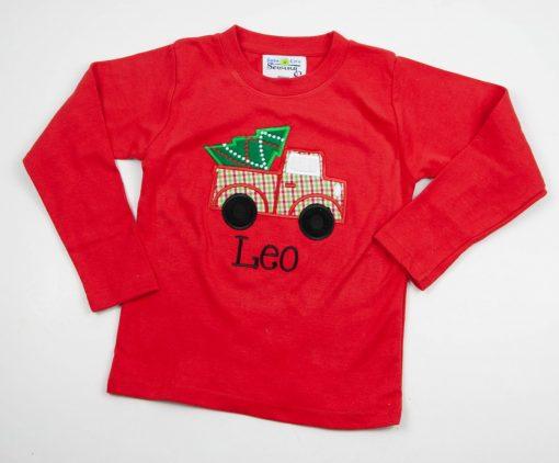 appliqued christmas shirt monogrammed