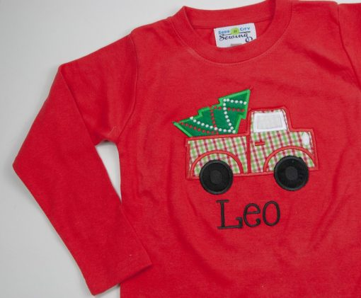 boys christmas tree truck shirt