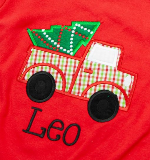 christmas applique on red shirt