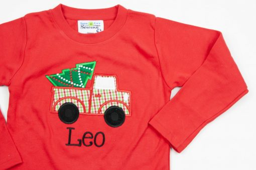 personalized christmas shirt with truck and christmas tree