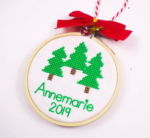 cross stitch christmas tree ornament