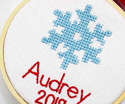 cross stitch ornament with name