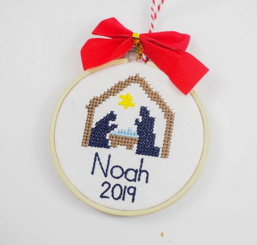 cross stitch nativity ornaments