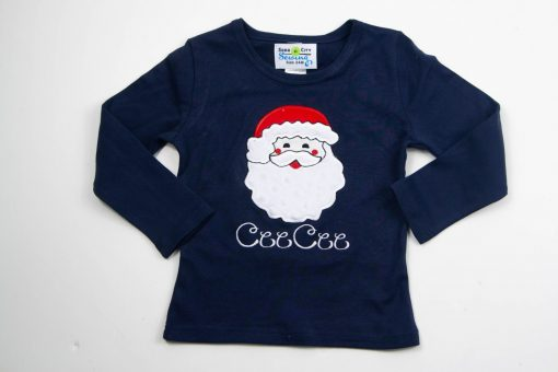 APPLIQUE santa shirt for girls