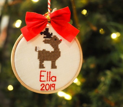 reindeer ornament cross stitched