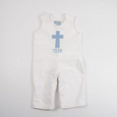 cross baptism longalls little boy baptism romper corduroy