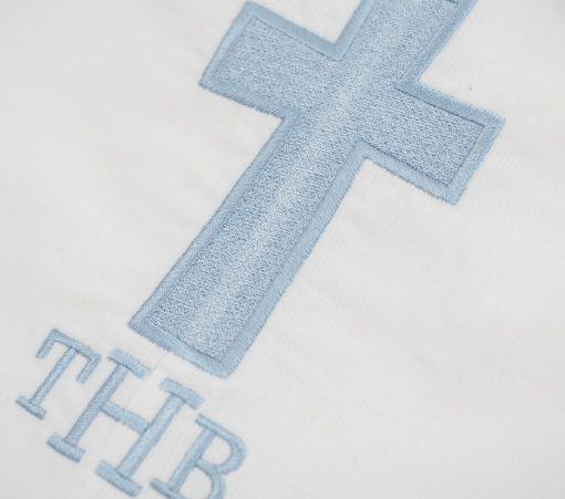 monogrammed christening romper corduroy