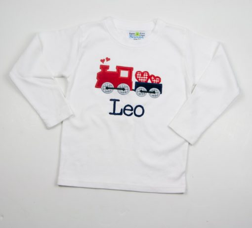 boys applique valentines shirt