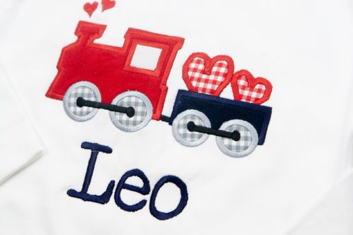 valentines day train outfit applique