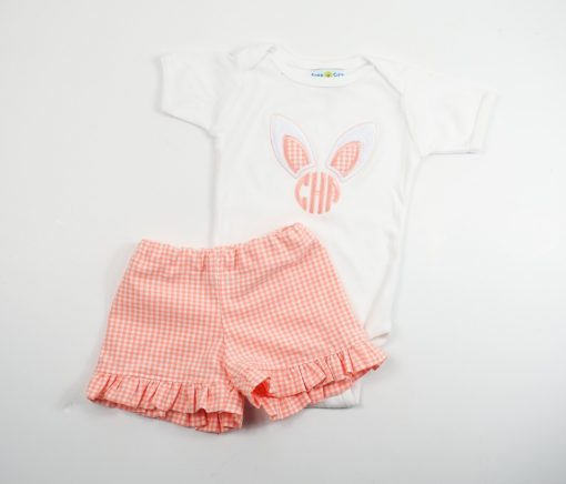 little girls bunny shirt with ruffle shorts