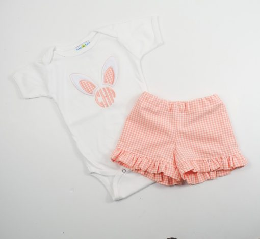 3 little girls initial bodysuit for easter