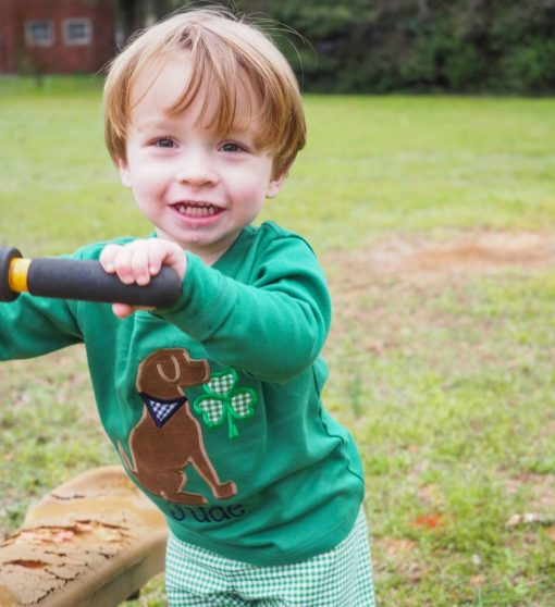 21 green shirt for st patricks day little boy applique
