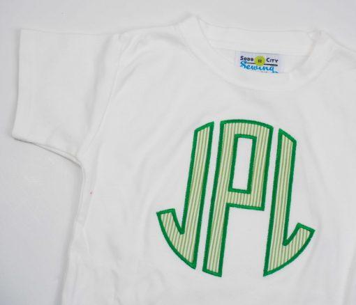 block circle font applique shirt
