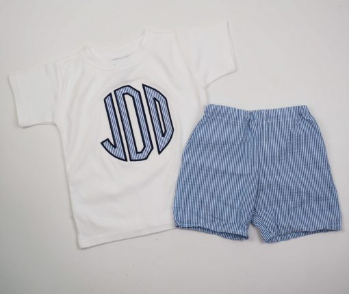 blue seersucker shorts set with monogrammed shirt