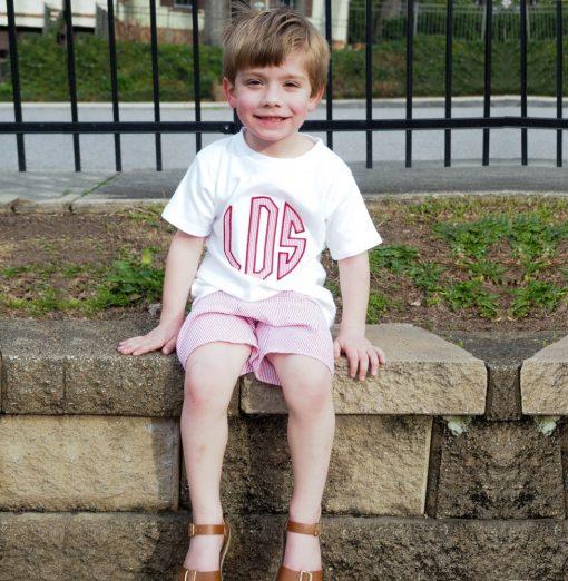 little boy seersucker shorts set