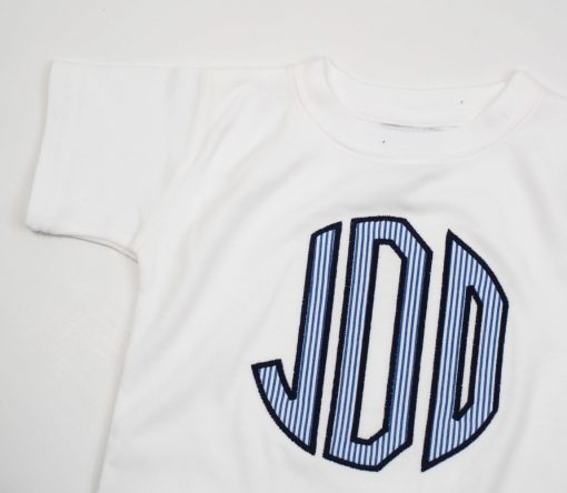 personalized seersucker initials shirt