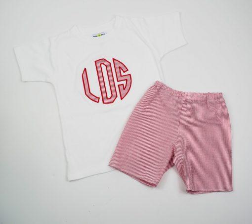 red seersucker shorts set