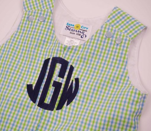 monogrammed gingham shortall for boys